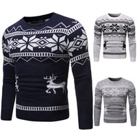 New Fashion Deer Knitting Christmas Sweater Pullover slim fi...