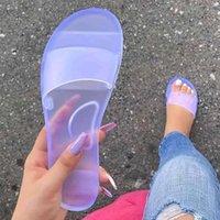 Летние женщины тапочки желе обувь конфеты цвета прозрачные горки женские мода повседневная скольжение на плоском пляже женские туфли 2020