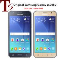 Original Samsung Galaxy J5 J500F Dual SIM de 5.0 pulgadas Pantalla LCD Cuádruple 1.5GB RAM 16GB ROM 13MP 4G LTE Teléfono celular reformado