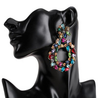 Luxury crystal drop earrings for women 2020 big colorful sta...