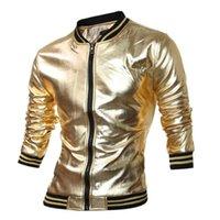 MCCKLE Nouveauté Mens Varsity Jacket Metallic Coated Night Club Wear Vestes Brillant Mandarin Collar Noir Or Argent Q2657
