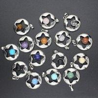 Colar Pingente QIMOSHI Natural Estrela de pedra por Mulheres menina Birthstone Cristal Chakra Yoga druzy Romântico Amizade Jóias