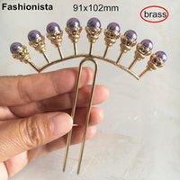 Свободная перевозка груза - китайский Этнический Ancient Шпилька Headwear металла латунь шпилька Фиолетовые шарики, 91x102mm