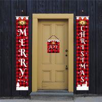 عيد الميلاد الاثنان باب راية مغطاة تسجيل عطلة عيد الميلاد الشنق الديكور الطباعة عيد الميلاد الاثنان في الهواء الطلق حديقة ميلاد سعيد ديكور 30PCS T1I2455
