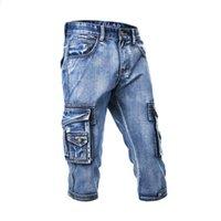 Moda Erkek Kargo Kot Şort ile Erkek Yıkanmış Boyutu 29-38 İçin Düz Dar Kesim Casual Kısa Jeans Çok cebe