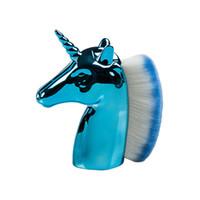 Dropshipping Güzellik Unicorn Şekli Makyaj Kadınlar Toz Fırçası Tek Yumuşak Kozmetik Makyaj Fırça Gevşek Şekil Vakfı Makyaj Fırça