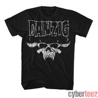 T-shirts Hommes Danzig Skull T-shirt en détresse Misfits Glenn Authentic Rock S-2XL