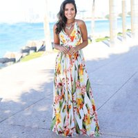 Sommer-Spaghetti-Bügel-Sleeveless Frauen Strand-Kleider Sexy Laides Maxi-Kleid mit V-Ausschnitt Backless Flora gedruckt Kleider