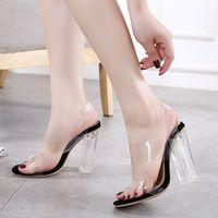 Hot2020 الأزياء والأحذية المرأة الجديدة شفاف بكعب سميك-كريستال عالية الكعب الصنادل المصنوعة في حجم 40 المنتجات على المدى الطويل
