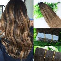 Ombre Extensions волос Glueless 2 # 6 # Tape В человеческих волос 40шт 10gram Бразильский Девы волос Выметание Шатен Highlight кожи Уток