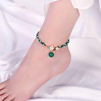 العقيق الأخضر لؤلؤة خلخال المرأة اللون اليشم زهرة شل اليد المنسوجة القدم حبل ريترو سلسلة الكاحل بسيطة