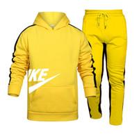 Nuevo estilo de ropa deportiva de hombre blanco negro gris 100% algodón original de la moda de la moda de los hombres del otoño de la camioneta con capucha de manga larga + pantalones S-3
