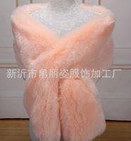 Hiver Faux Fox Fur Endraille Robe de soirée Bridale Châle longue épaissie Écharpe foulard Féminin Fake Bib Jacket 30cm * 165cm