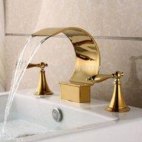 Robinet de salle de bain robinets Vidrique usine direct luxueux 3pcs PVD TI-Gold Titanium Bathtub Baignoire Basin Mélangeur Tap Robinet Robinet