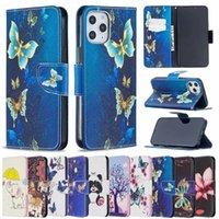 Skrzynka na iPhone 12 2020 Samsung Note 20 Ultra Leather Portfel Słoń Sowa Motyl Kwiat Panda Niedźwiedź Cute Unicorn Cartoon Holder Flip Cover