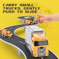 سبيكة ألمنيوم 2IN1 الحاويات هندسة سلسلة سيارة 6PCS البسيطة دييكاست سيارة 1:64 مقياس لعبة الناقل شاحنة بنين هدايا للأطفال