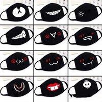 ABD Stok Anime Sevimli Ayı Tasarımcı Parti Yüz Maskeleri Yetişkin Çocuk Gürdeniz Yüz Kül Ağız Yeniden kullanılabilir Toz Rüzgar Geçirmez Siyah Pamuk Maskeler Maske
