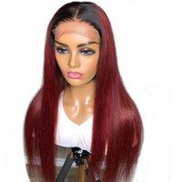 Прямой 1б Бургундия 13x6 кружева передние человеческие волосы парик реми Бразильские волосы 150% 99J 5 * 5 '' шелковый базовый кружевной парик