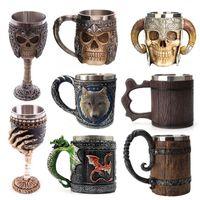 La taza de cerveza caliente retro del Cuerno cráneo Acero Resina Caballero de Halloween del cráneo taza de té de Viking Pub decoración de la barra