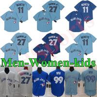 새로운 남성 여성 키즈 11 보 BICHETTE 2020 블루 제이 저지 27 블라디미르 GUERRERE JR. 99 현진 류 야구 유니폼