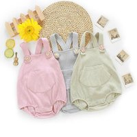 Ins Baby-Kleidung Baby-Strampler Fest ärmel Kinder Bodysuits Stretch Cotton Newborn Boy Straps Säuglingsmädchen Jumpsuits Kleidung LSK682