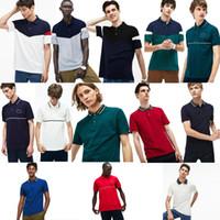 Crocodilo polo camisa homens designer polo camisas 100% algodão francês marca masculina moda verão de manga curta polo camisa casual homens polos tops