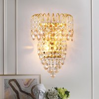 New Luxury Crystal Led Wall Light Bedroom Bedside Bathroom Mirror Light Modern Simple Corridor Tv Background Wall Lamp