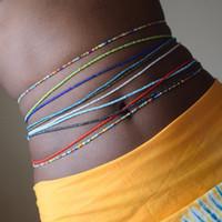 2PCS / مجموعة بوهيميا مزدوجة ستراند البطن للمجوهرات النساء مطاطا الجسم أفريقيا الخرز الخصر اكسسوارات سلسلة