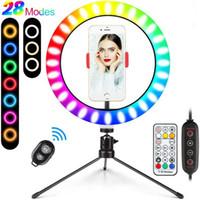 Luz de anel de dimmable colorido LED com tripé USB Selfie Light Light Light RGB Light Ringlight com suporte Tiktok YouTube Live 10 polegadas