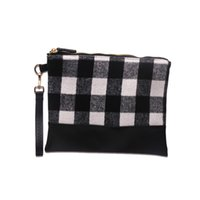 Black Buffalo Plaid Cosmetic Case GA Warehouse PU Faux Leather Bottom Makeup Bags Wester Pattern Canvas Wristlet Daybag DOMIL1139