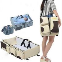 Yatak Bezi Çantaları Sırt çantası Katlama Yatak Bezi Çanta Su geçirmez Hemşirelik Çanta Seyahat Nappy Sırt çantaları Moda Çanta Bebek Bakım Yatak WY773Q Katlanabilir