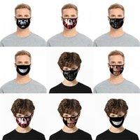 Dentes cara do crânio máscaras pretas reutilizável Mascarilla Moda PM 2,5 Protective Respirador lavável personalizado Earloop Adulto Kid 2 C2 2BL