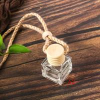 perfume del coche colgante de la botella de perfume ambientador de aire del coche del ornamento para los aceites esenciales difusor de perfume botella de cristal vacía AAF1723
