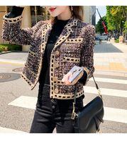 2020 가을 봄 칼라 트위드 아래 새로운 여성의 차례는 SML casacos 짧은 재킷 코트 플러스 크기 모직