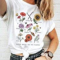 Fleur où vous êtes plantés T-shirt de tournesol Aesthetic femmes T-shirt Économies abeilles coton T-shirts Fille ulzzang Tops