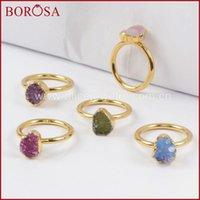 Anillos de racimo Borosa 10 unids Colores mixtos Color de oro FreeForm Rainbow Druzy para mujeres, Moda Drusy Gems Joyería Party G1450