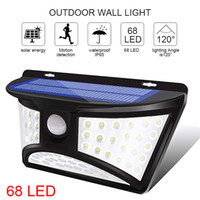 Nowość Zewnętrzna Lampa Słoneczna 68 LED Ściana Światła IP65 Wodoodporna Czujnik ruchu Bezpieczeństwo Słoneczne światła na podjazd ogrodowy