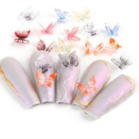 30pcs / roue 3D papillon ongles art décoration charmes design coloré design strass bijoux gel bricolage manucure ongles accessoires TR1817