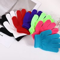 children winter warm mittens Color block Full Finger Warm Kn...