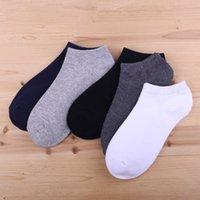 2020 Nueva tobillo calcetines de hombre invisible transpirable de algodón antideslizante sólido caliente de la venta informal Popular de alta calidad 1Pair los calcetines del barco