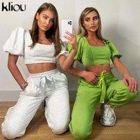 Kliou kadınlar seti rahat streetwear sportif eşleşen iki parçanın kıyafetler kare yaka puf kollu kırpma üst bandaj harem eşofman