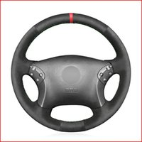 Black Suede DIY Car Steering Wheel Cover for Mercedes Benz W203 C-Class 2001 2002 2003 2004 2005 2006 2007 Accessories
