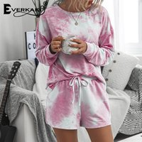 Everkaki 2 Pieces Sets Suits Women Sports Summer Gym Tie-dyed Streetwear Ladies Home Suits Sets Female Casual 2020 New Fashion T200825