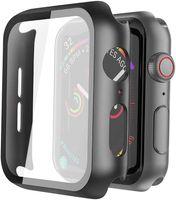 Tela Hard Case PC Magro vidro temperado capa protetora geral de protecção para Apple Watch Série 6 SE 5 4 3 2 1 38 milímetros 42 milímetros 40 milímetros 44 milímetros