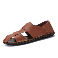 Sandals 2021 High Quality Men Models Covered Toes Original Breathable Soft Male Shoes Summer Big Size Buckle