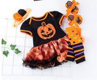 Halloween Baby Mädchen Kleidung Set Strampler Tutu Kleid + Stirnband + Kniead + Schuhe Vierstöckige Anzug Halloween Kinder Töpfe Schnee Kürbis Jumpsuits D82503