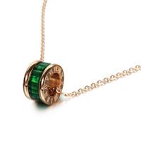 Luxus Frauen Choker Halskette Einfache Römische Ziffern Smaragd Edelstein Rose Gold Clavicle Titanium Stahl Anhänger Halskette Modeschmuck Geschenke