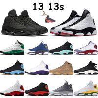Mens 13 13S 농구 신발 운동화 플레이 오프 플린트 블랙 고양이 섬 럭키 그린 브리드 낮은 순수 플래티넘 Chaussures 남자 트레이너