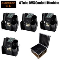 4pcs lot LED Confetti Cannon stage effect 6 shots confetti gun confetti machine for wedding party celebration stage effects with flight case