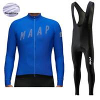 프로 팀 MAAP 겨울 남성 긴 소매 사이클링 저지 설정 균일 한 열 양털 MTB 자전거 의류 자전거 타이츠 로파 Ciclismo